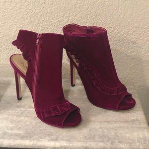 Pretty pink velvet heels